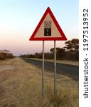 sign gravel road   caution the... | Shutterstock . vector #1197513952
