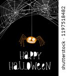 funny orange spider on a simple ... | Shutterstock .eps vector #1197518482