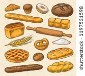 set bread. vector color hand... | Shutterstock .eps vector #1197531598