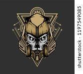robotic skull with sacred... | Shutterstock .eps vector #1197549085