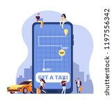 mobile taxi. online taxi... | Shutterstock .eps vector #1197556342