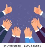hands clapping. thumbs up and... | Shutterstock .eps vector #1197556558