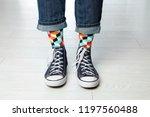 person wearing stylish socks... | Shutterstock . vector #1197560488