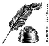 a feather quill ink writing pen ...   Shutterstock .eps vector #1197567322