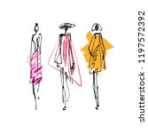 fashion models hand drawn... | Shutterstock .eps vector #1197572392