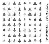 christmas tree icon set. flat... | Shutterstock .eps vector #1197572632