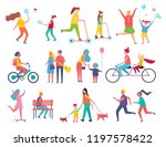 skating person on scooter... | Shutterstock .eps vector #1197578422