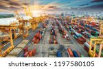 container warehouse waiting for ... | Shutterstock . vector #1197580105