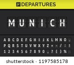 analog airport flip board with... | Shutterstock .eps vector #1197585178