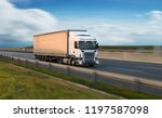 truck with container on highway ... | Shutterstock . vector #1197587098