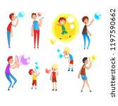 adults and children blowing... | Shutterstock .eps vector #1197590662