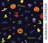 halloween doodle seamless... | Shutterstock . vector #1197592225