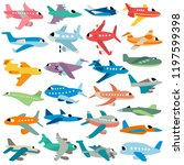 airplanes vector set | Shutterstock .eps vector #1197599398