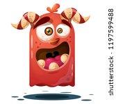 funny  cute crazy pumpkin... | Shutterstock .eps vector #1197599488
