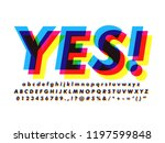 offset alphabet font with... | Shutterstock .eps vector #1197599848