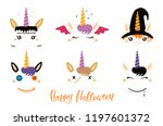 halloween set with cute unicorn ... | Shutterstock .eps vector #1197601372