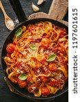 tasty appetizing spaghetti with ... | Shutterstock . vector #1197601615