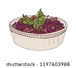 lobio in bowl decorated with... | Shutterstock .eps vector #1197603988