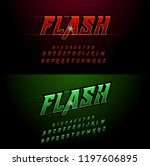 alphabet red and green metallic ... | Shutterstock .eps vector #1197606895