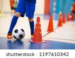 indoor soccer players training... | Shutterstock . vector #1197610342