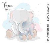 Stock vector cute elephant romantic couple 1197626248