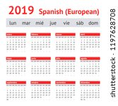 calendar 2019  spain . european ... | Shutterstock .eps vector #1197628708