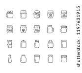 bottle of jam flat line icons.... | Shutterstock .eps vector #1197631915