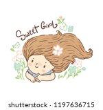 cute little girl  summer card   Shutterstock .eps vector #1197636715