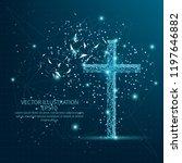 christian cross form mesh line... | Shutterstock .eps vector #1197646882