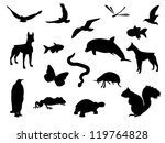 Stock vector animal silhouettes 119764828