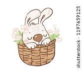 cute little bunny easter card   Shutterstock .eps vector #1197659125