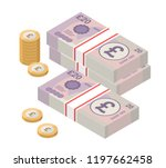 isometric stacks of 20 pound... | Shutterstock .eps vector #1197662458