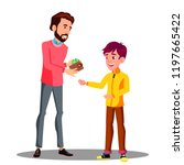 father gives money from his... | Shutterstock .eps vector #1197665422