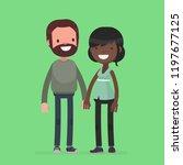 interracial cute couple vector...   Shutterstock .eps vector #1197677125