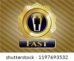 gold badge with dead man in... | Shutterstock .eps vector #1197693532