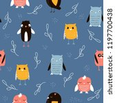 seamless pattern with funny... | Shutterstock .eps vector #1197700438