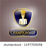 gold shiny badge with chef... | Shutterstock .eps vector #1197705058