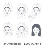 how to apply face mask... | Shutterstock .eps vector #1197707545
