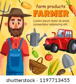 farmer agrarian poster with... | Shutterstock .eps vector #1197713455