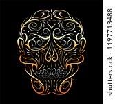 abstract skull shape gold... | Shutterstock .eps vector #1197713488