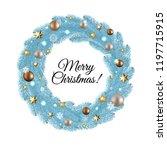 blue merry christmas wreath  | Shutterstock . vector #1197715915