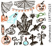 halloween. a set of funny... | Shutterstock .eps vector #1197716215