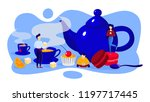 tea time. small people standing ... | Shutterstock .eps vector #1197717445