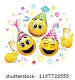 smiling balls celebrating.... | Shutterstock .eps vector #1197733555