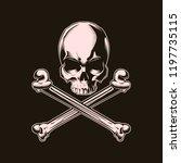 human skull with cross bones....   Shutterstock .eps vector #1197735115