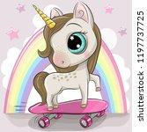 cute cartoon unicorn with... | Shutterstock .eps vector #1197737725