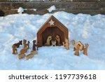 religious christmas manger made ...   Shutterstock . vector #1197739618