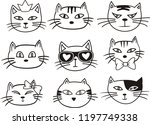 cute cat illustration vector... | Shutterstock .eps vector #1197749338