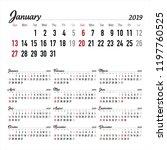 calendar. 2019 calendar. vector ...   Shutterstock .eps vector #1197760525