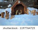 wooden nativity figures on...   Shutterstock . vector #1197764725